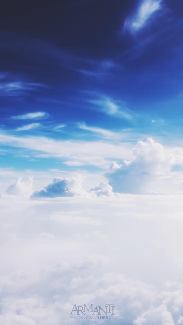 蓝天白云海报背景素材全屏