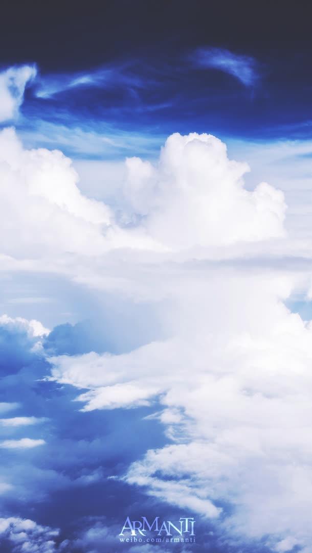 蓝色天空白云淘宝海报素材背景图