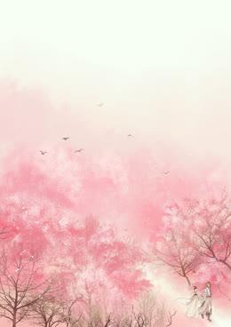 粉色花海飞鸟海报背景