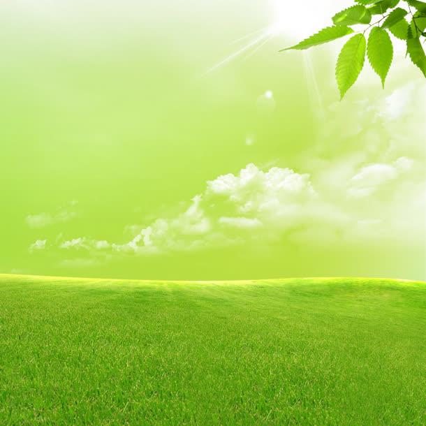 嫩绿色的草地白云免抠素材免费下载_觅元素51yuansu.