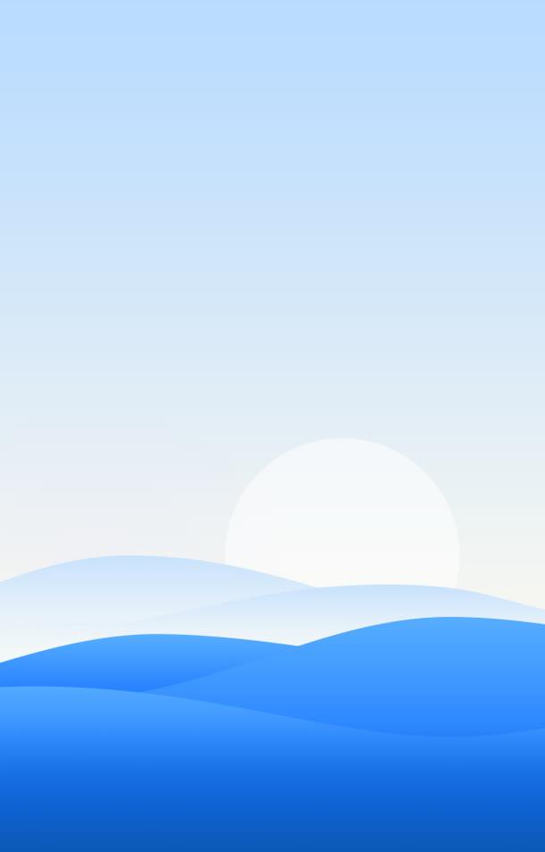 卡通蓝色山峦日出海报背景