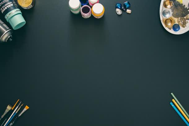 纯色桌面墨色画板画笔刷子高清背景图片免抠素材免费