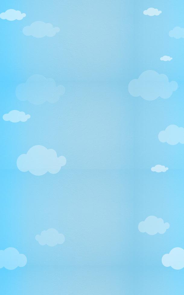 纯色蓝天手绘背景矢量图