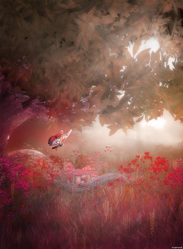 梦幻森林蝴蝶海报背景