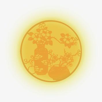 中国风黄色月亮花瓶中秋免抠素材免费下载_觅元素51.