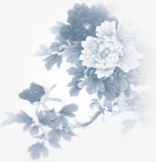 中秋节黑白色九月菊免抠素材免费下载_觅元素51yuansu