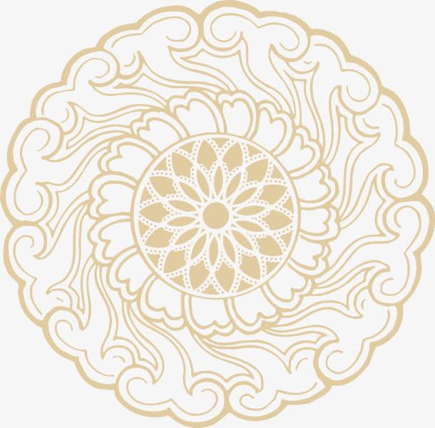 棕色手绘月饼花纹