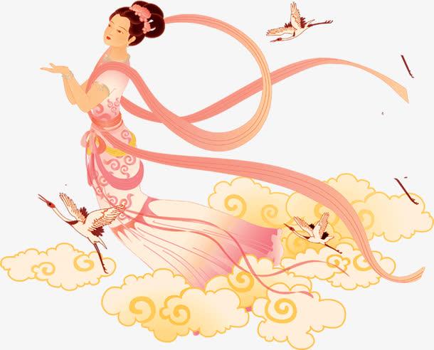 中国画飞天仙女和仙鹤中秋