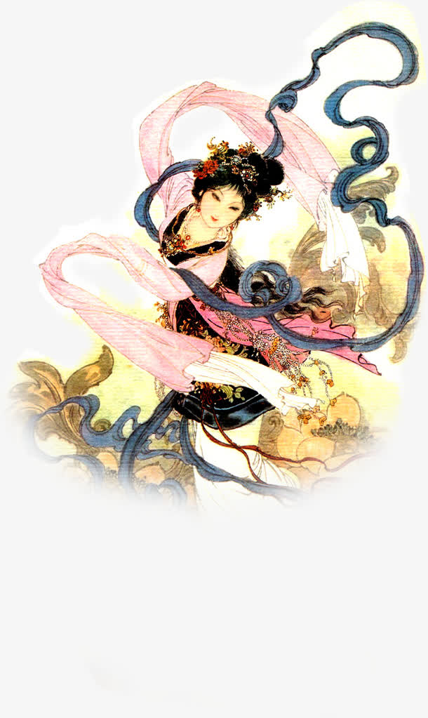中秋节手绘跳舞美女