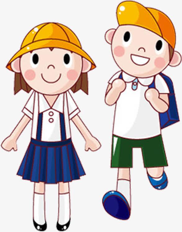 带着黄色帽子的男孩女孩卡通图片
