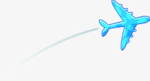 蓝色带圆圈卡通画飞机免抠素材免费下载_觅元素51.