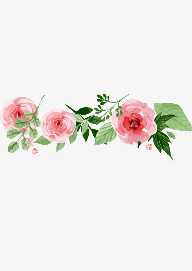 卡通手绘植物花朵绿叶