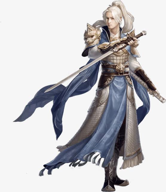 双剑白发少年古风手绘海报