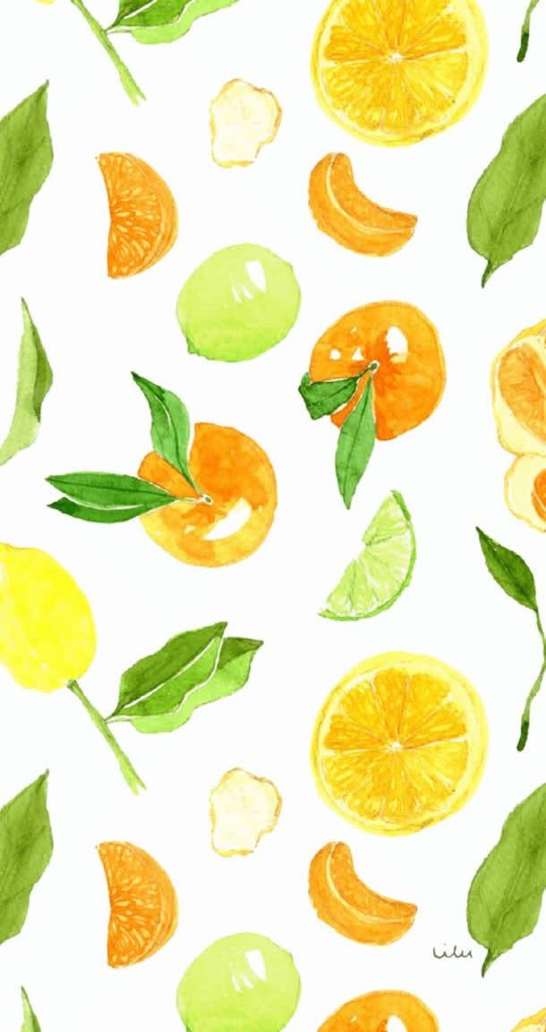 手绘柠檬绿叶壁纸免抠素材免费下载_觅元素51yuansu.