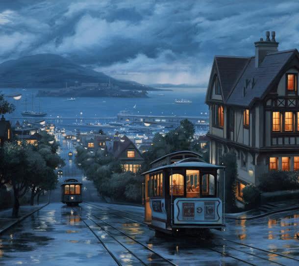 欧式夜晚小镇列车海报背景