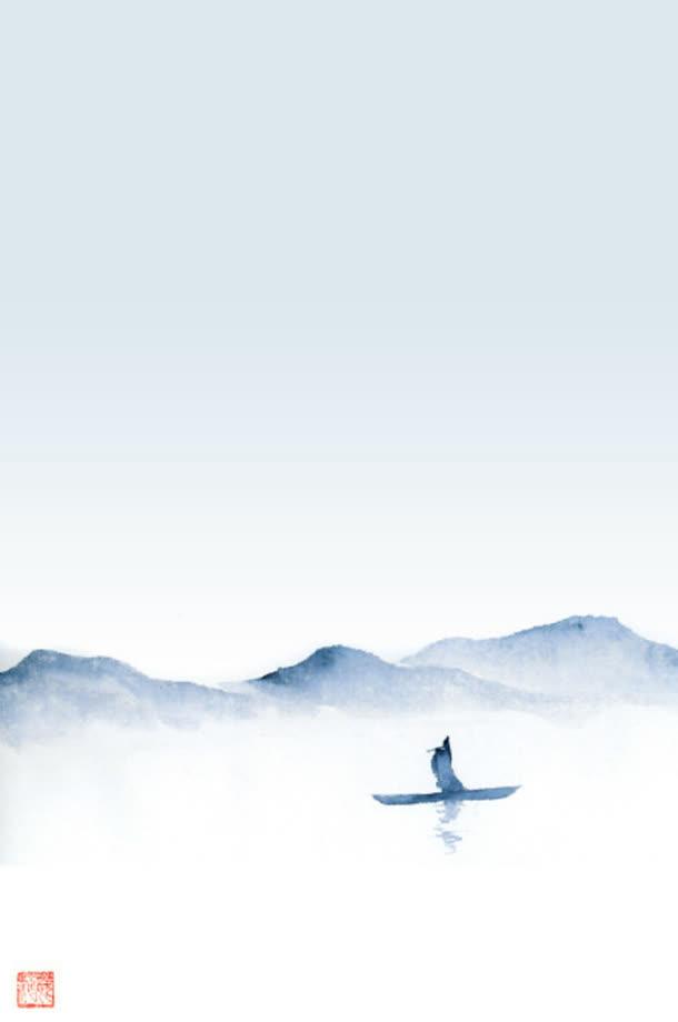 水墨画远山水上孤舟海报背景