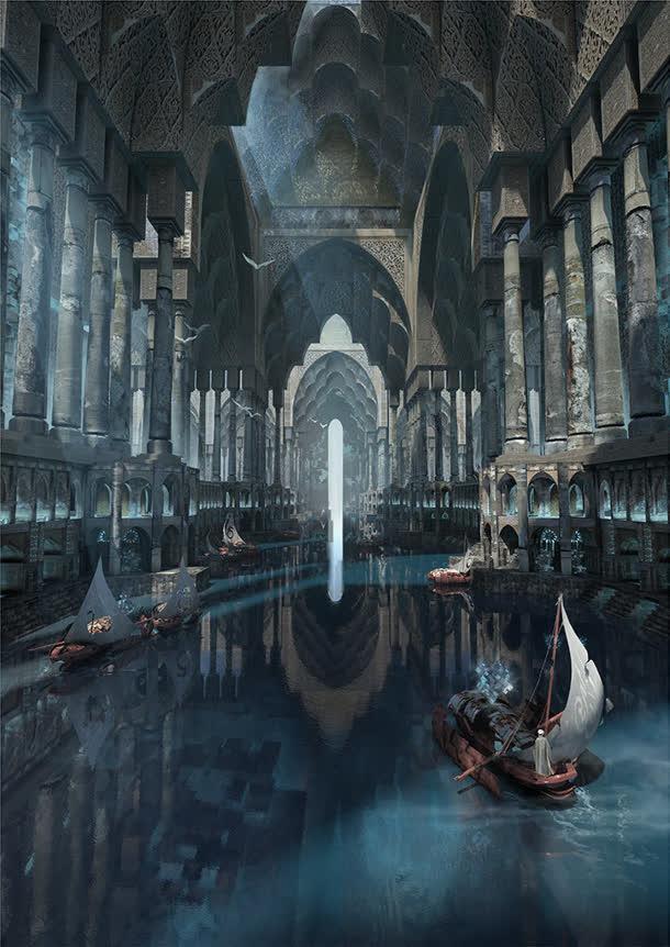 欧式幻想教堂游戏场景原画