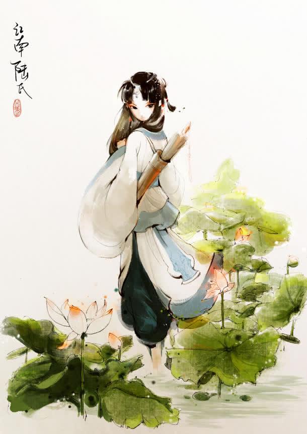 手绘古风江南女子免抠素材免费下载_觅元素51yuansu.