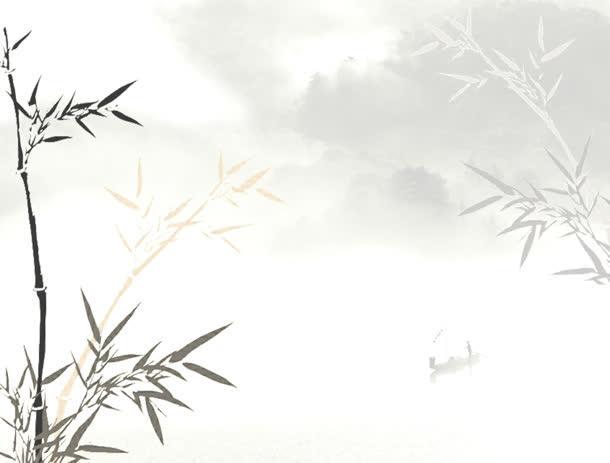 水墨画白色中国风淡雅竹叶