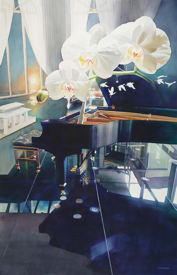 手绘水彩钢琴花朵
