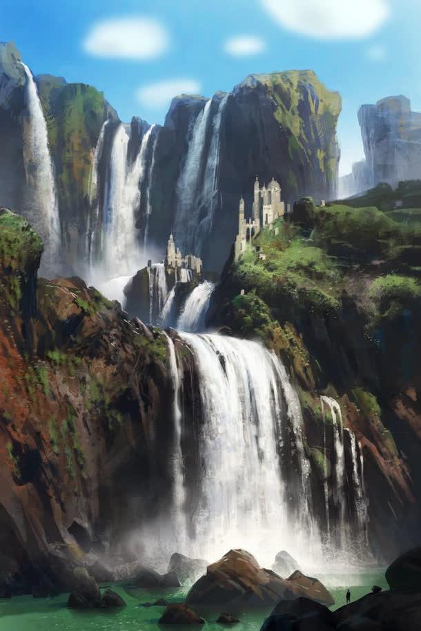 手绘瀑布峭壁青山免抠素材免费下载_觅元素51yuansu.