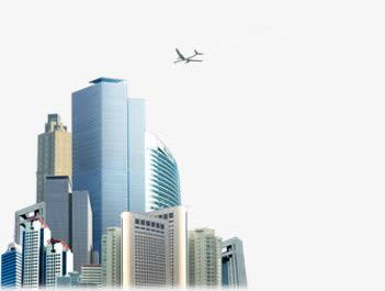 手绘城市高楼飞机团队免抠素材免费下载_觅元素51.