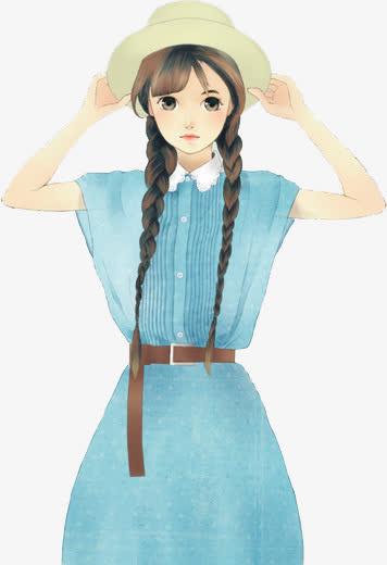 扎双辫的女生手绘免抠素材免费下载_觅元素51yuansu.