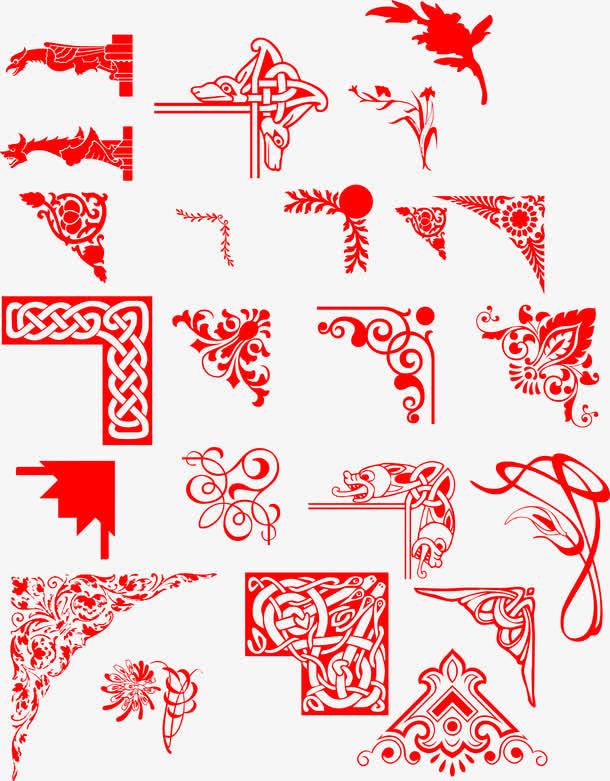手绘红色中国风边框