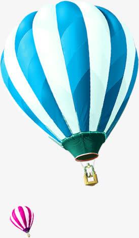蓝白相间热气球设计夏日免抠素材免费下载_觅元素51.