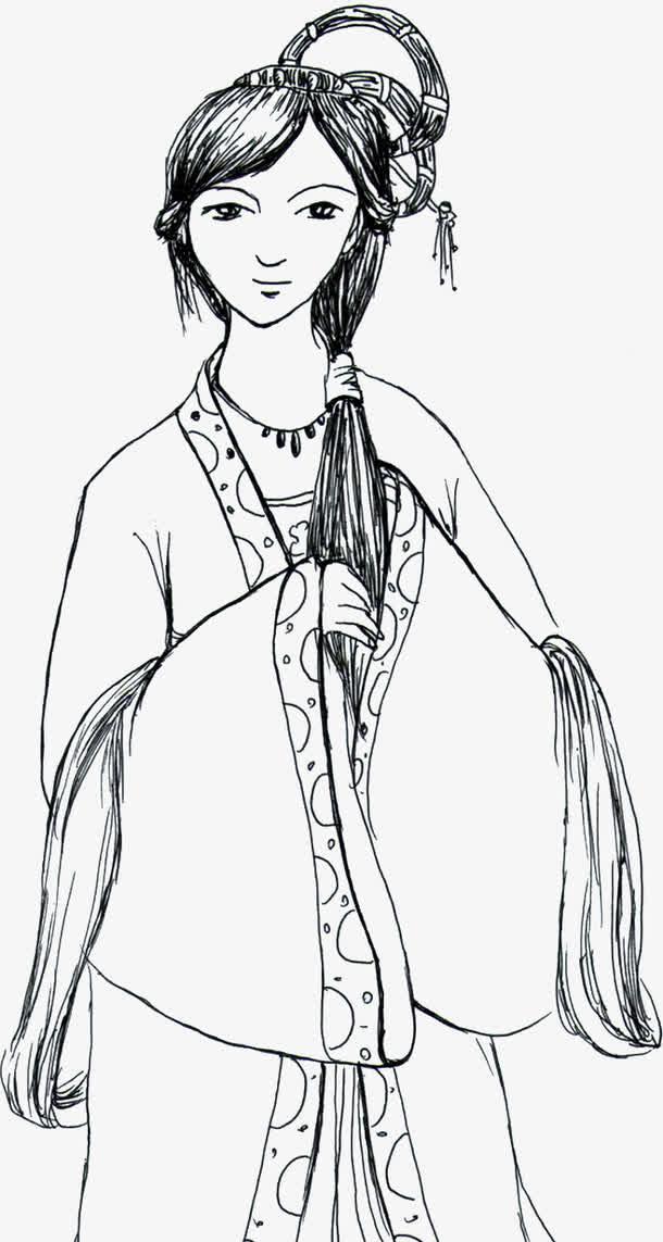 中国风古代模特剪影