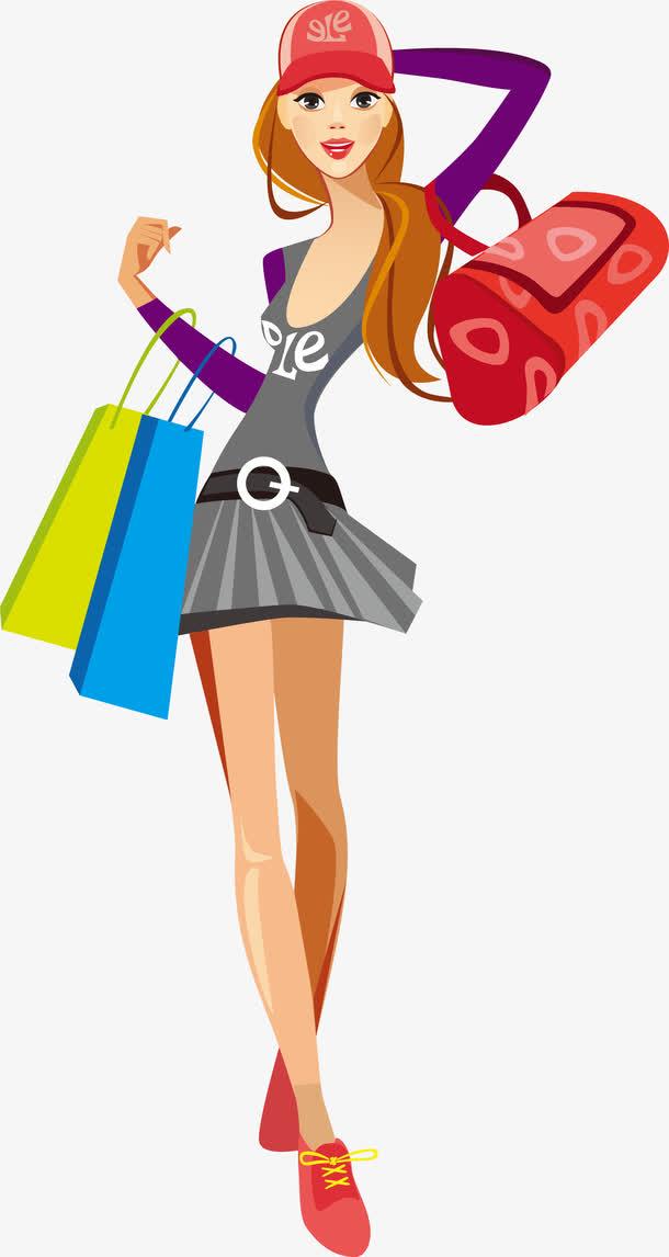 时尚女装购物卡通免抠素材免费下载_觅元素51yuansu.