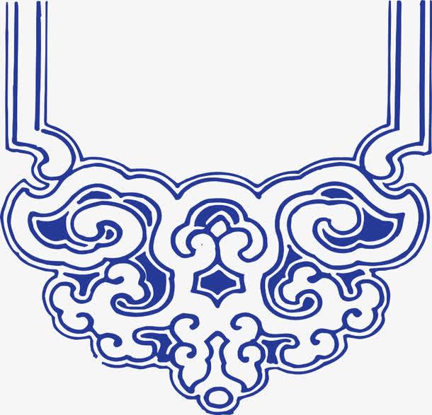 蓝色青花瓷手绘花纹
