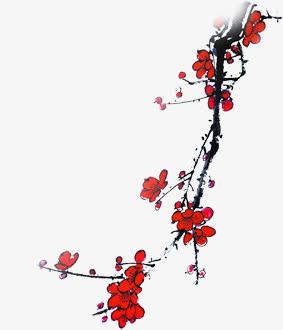 手绘红色梅花海报装饰