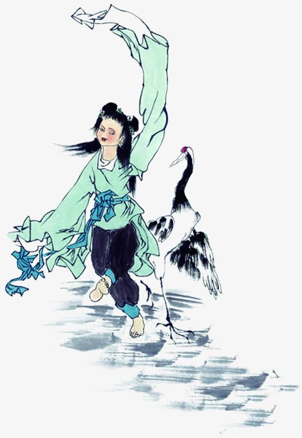 手绘仙鹤少女中国风