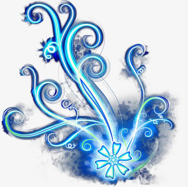 炫彩蓝色亮光花纹免抠素材免费下载_觅元素51yuansu.