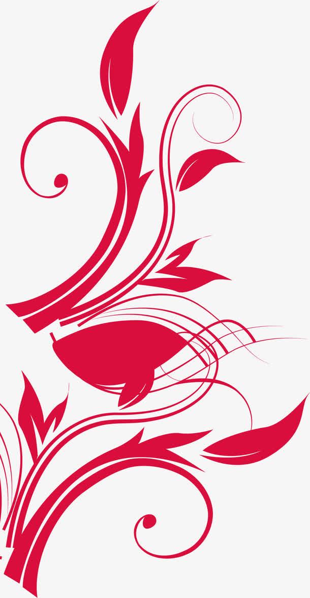红色叶片藤蔓欧式花纹
